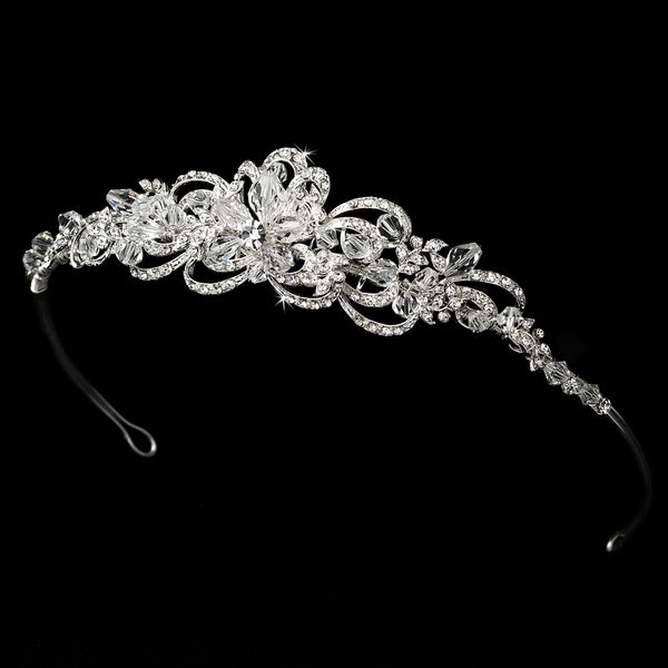 """The Marianne"" Silver Plated Floral Swarovski Tiara - Sweet Heart Details"