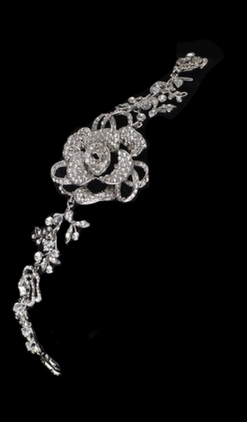 """The Emma Rose"" Rhodium Swarovski Rose Headband - Sweet Heart Details"