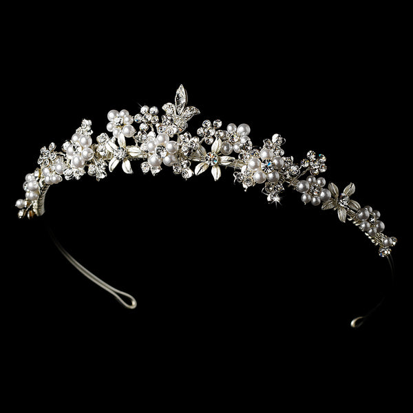 """The Samantha"" Pearl Floral Tiara-Tiaras & Headbands-Wedding Factory-Sweet Heart Details"