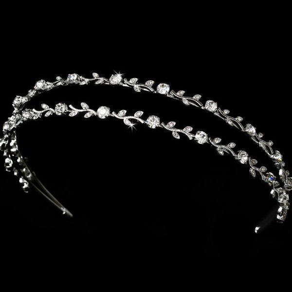 """The Kiera"" Crystal & Pearl Bridal Headband - Sweet Heart Details"