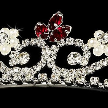 """The Mia"" Crystal & Pearl Tiara-Tiaras & Headbands-Wedding Factory-HP-6240-S-RED-Sweet Heart Details"