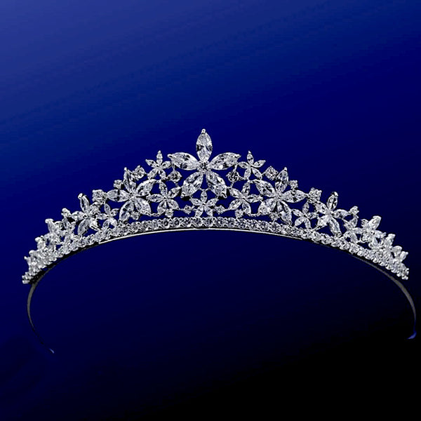 """The Stelya"" Floral Star CZ Tiara-1637 ABH-14-Sweet Heart Details"