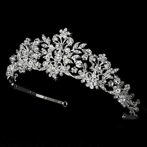 """The Dorothea"" Crystal and Pearl Tiara - Sweet Heart Details"