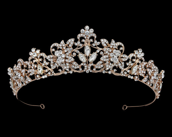 """The Leslie"" Rose Gold Rhinestone Scroll Tiara-Tiaras & Headbands-DS Bridal-T-56264-RG-Sweet Heart Details"