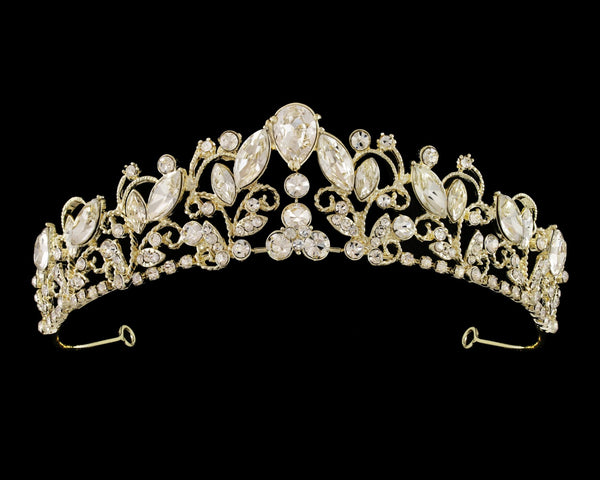 """The Dorothy"" Enchanting Rhinestone Tiara-T-56436 Gold-Sweet Heart Details"