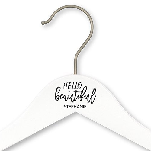 Personalized Wooden Wedding Clothes Hanger- Hello Beautiful - Sweet Heart Details