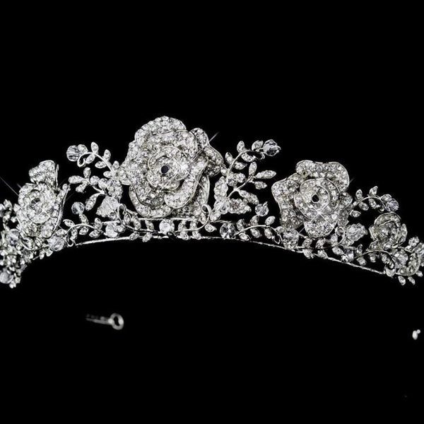 """The Marian"" Antique Rhinestone Roses Tiara - Sweet Heart Details"