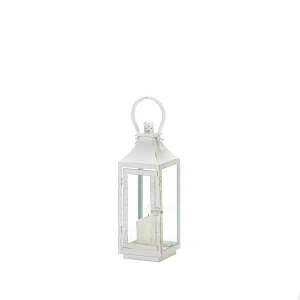 Traditional White Iron Lanterns-Lanterns, Candles-Kohler Home Decor-10018614-Sweet Heart Details