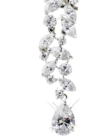 """The Amanda"" Silver Tear Drop Marquise CZ Crystal Earrings-Earrings-Wedding Factory-Sweet Heart Details"