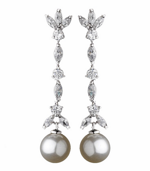 """The Lauren"" Stylish CZ with Ivory Pearl Earrings (4)-Earrings-Wedding Factory-E-3856-RD-IV-Sweet Heart Details"