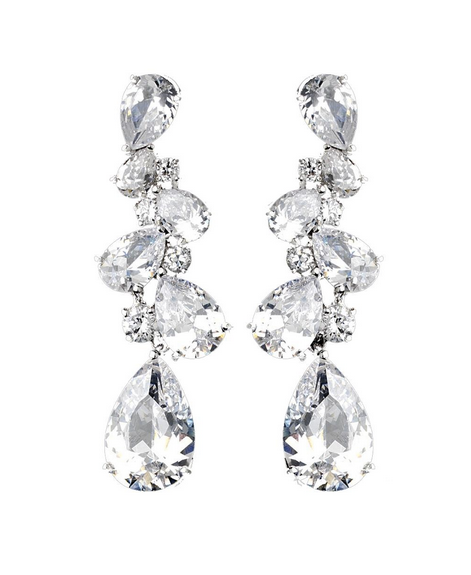 """The Ashley"" Sparkling Earrings-Earrings-Wedding Factory-E-5882-RD-CL-Sweet Heart Details"