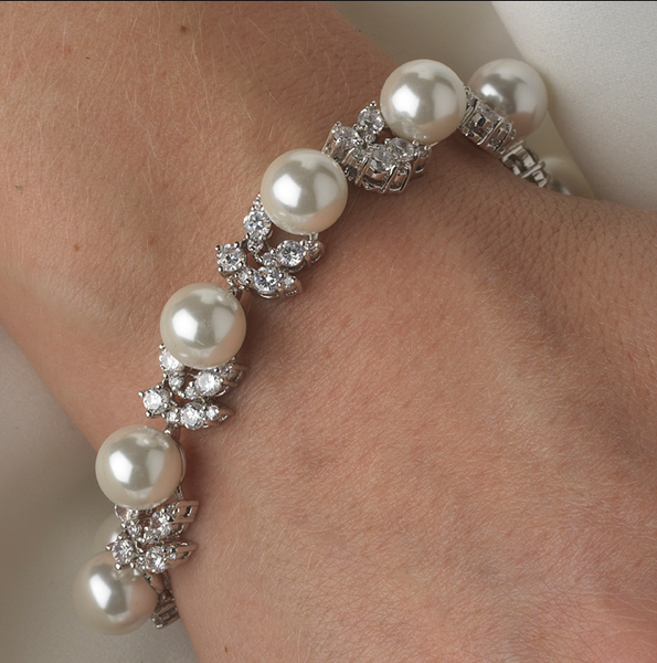 """The Kali"" Exquisite Cubic Zirconia & Ivory Pearl Bracelet-Bracelets-Wedding Factory-b-2473-AS-DW-Sweet Heart Details"