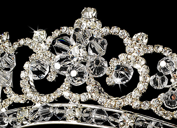 """The Kate"" Regal Floral Bridal Tiara - Sweet Heart Details"
