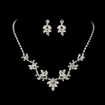 """The Theresa"" Vine Pattern Crystal Jewelry Set-Jewelry Sets-Wedding Factory-NE-7601-S-CL-Sweet Heart Details"