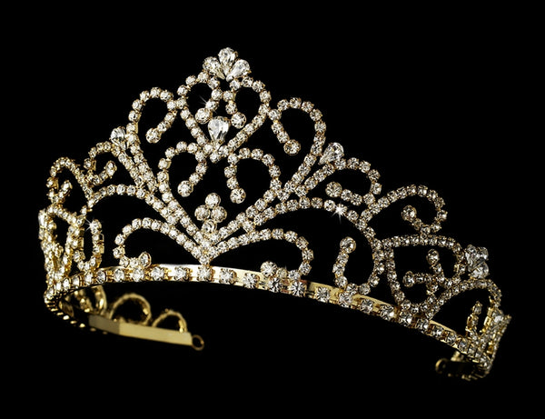 """The Sheena"" Royal Rhinestone Tiara-Tiaras & Headbands-Wedding Factory-Sweet Heart Details"