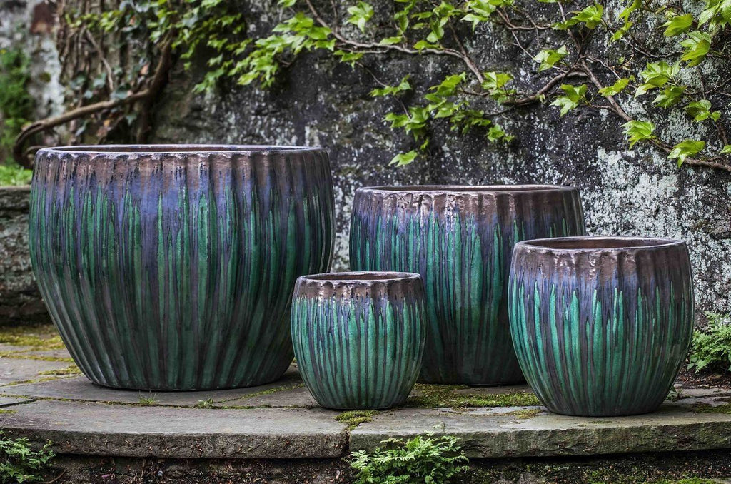 Campania International Andromeda Planter - Set of 4 in Bronze Jade