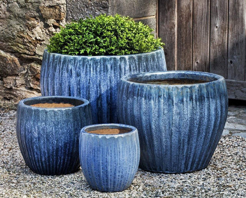 Campania International Andromeda Planter Set of 4 in Blue Pearl