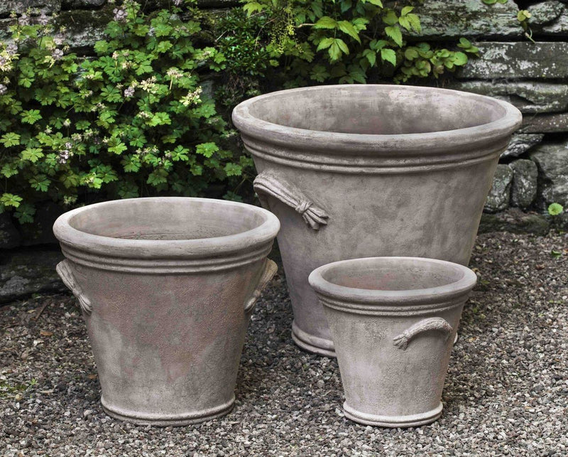 Campania International Fluted Handle Planter Set of 3 in Antico Terra Cotta