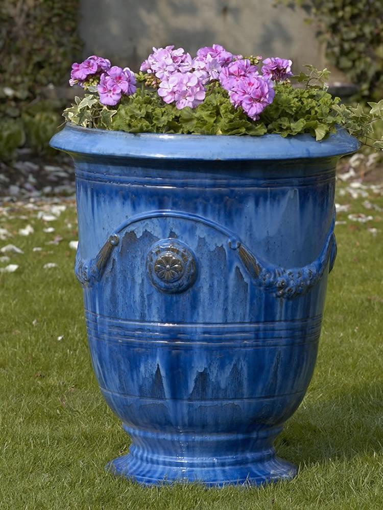 Campania International Anduze Urn Set of 3 in Riviera Blue Kendall and Everett