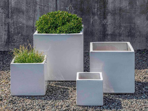 Campania International White Hancock Planter- Set of 4