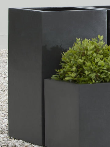 Campania International Modular Lite Planter 2 in Onyx Black Kendall and Everett