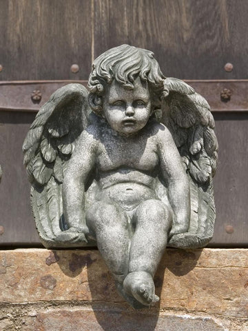 Campania International Seated Medium Cherub Garden Statue Kendall and Everett