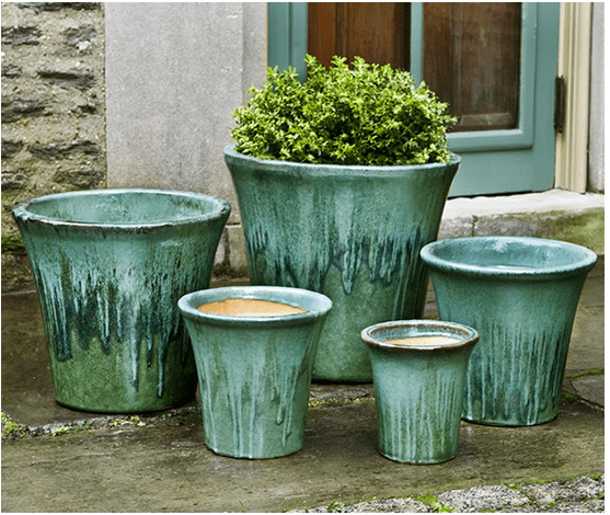 Campania International Delphine Planter Set of 5 in Falling Jade Kendall and Everett