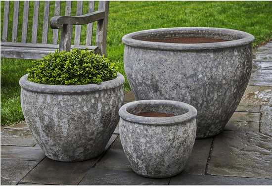 Campania International Corfu Planter Set of 3 in Angkor Grey