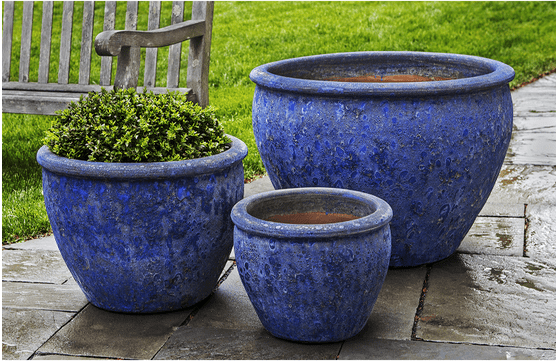 Campania International Corfu Planter Set of 3 in Angkor Blue