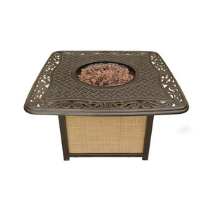 Hanover Traditions Cast Top Gas Fire Pit with Lava Rocks