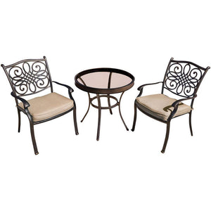 Hanover Traditions 3-Piece Bistro Set with 30-inch Table