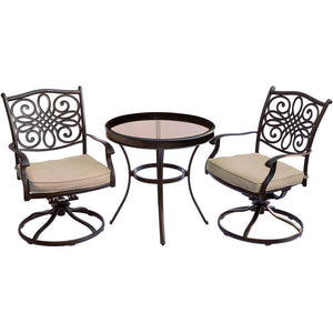 Hanover Traditions 3-Piece Bistro Set with Swivel Chairs
