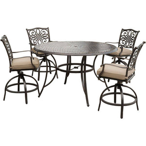 Hanover Traditions 5-Piece Outdoor High Dining Set with 56-inch Table