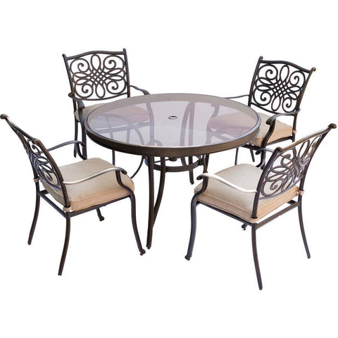 Hanover Traditions 5-Piece Outdoor Dining Set with 48-inch Table
