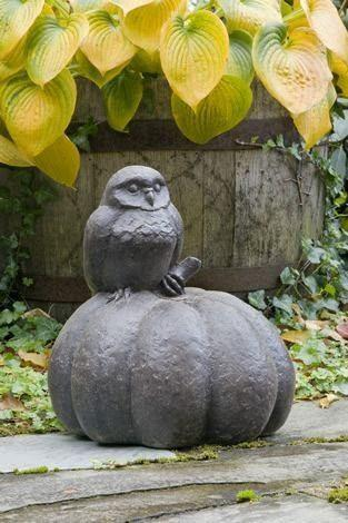 Image of Campania International Owl on Pumpkin Statue Kendall and Everett