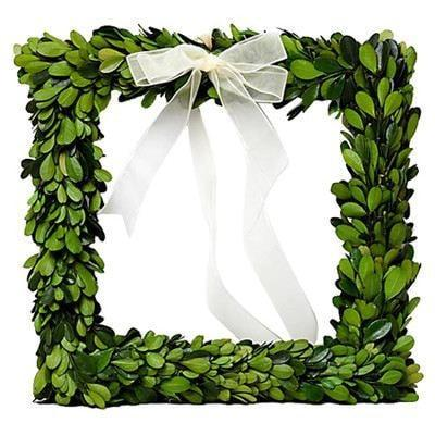 Mills Floral Preserved Boxwood 8-inch Square Wreath with Ribbon Set Kendall and Everett