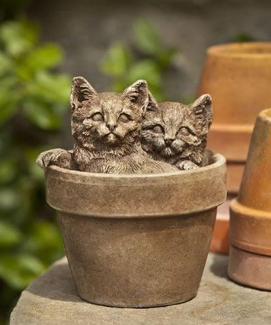 Image of Campania International Sprouts Kitten Garden Statue Kendall and Everett