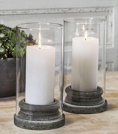 Image of Campania International Classic Pillar Candleholder with Hurricane Glass Set of 4 Kendall and Everett