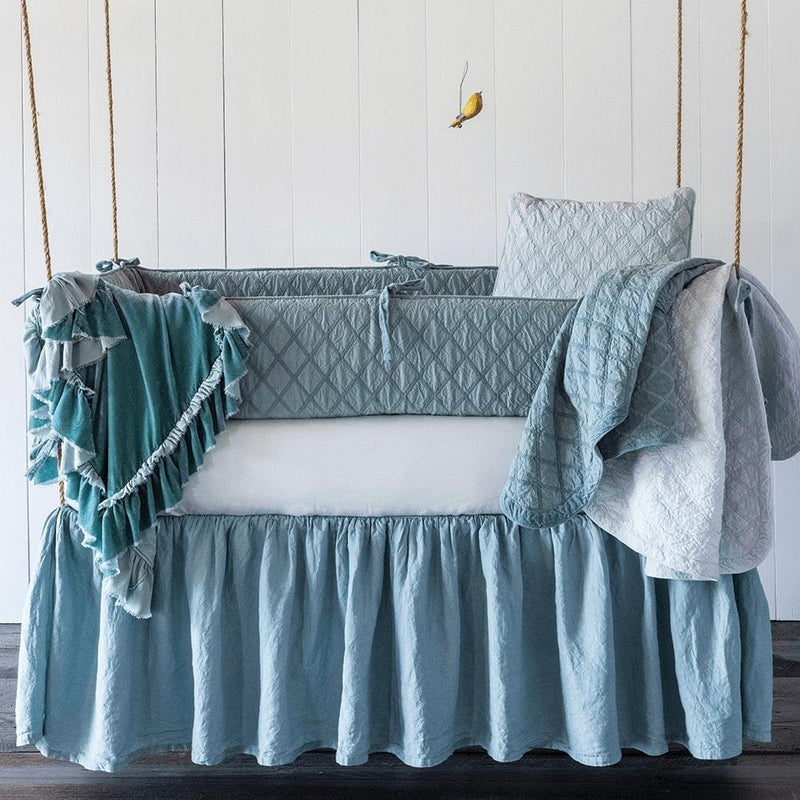 Crib Skirt - Bella Notte Linens Linen Crib Skirt