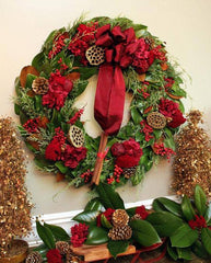 Crimson and Gold Holiday Wreath with Ribbon
