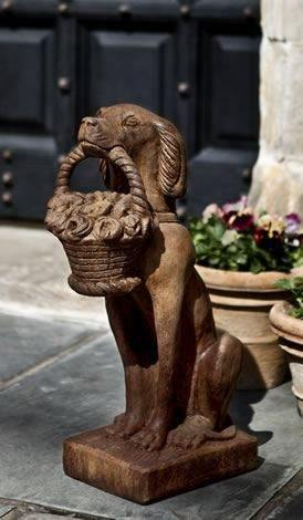 Image of Campania International Vintage Dog with Basket Garden Statue Kendall and Everett