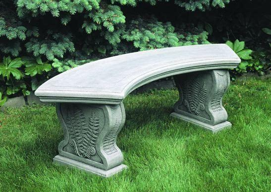 Garden Bench - Curved Woodland Ferns Bench By Campania International