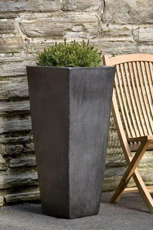 Campania International Faro Tall Square Planter in Graphite Kendall and Everett