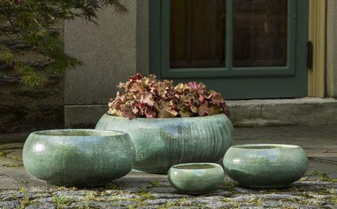 Campania International Misha Planter Set of 4 in Celadon Pearl The Garden Gates