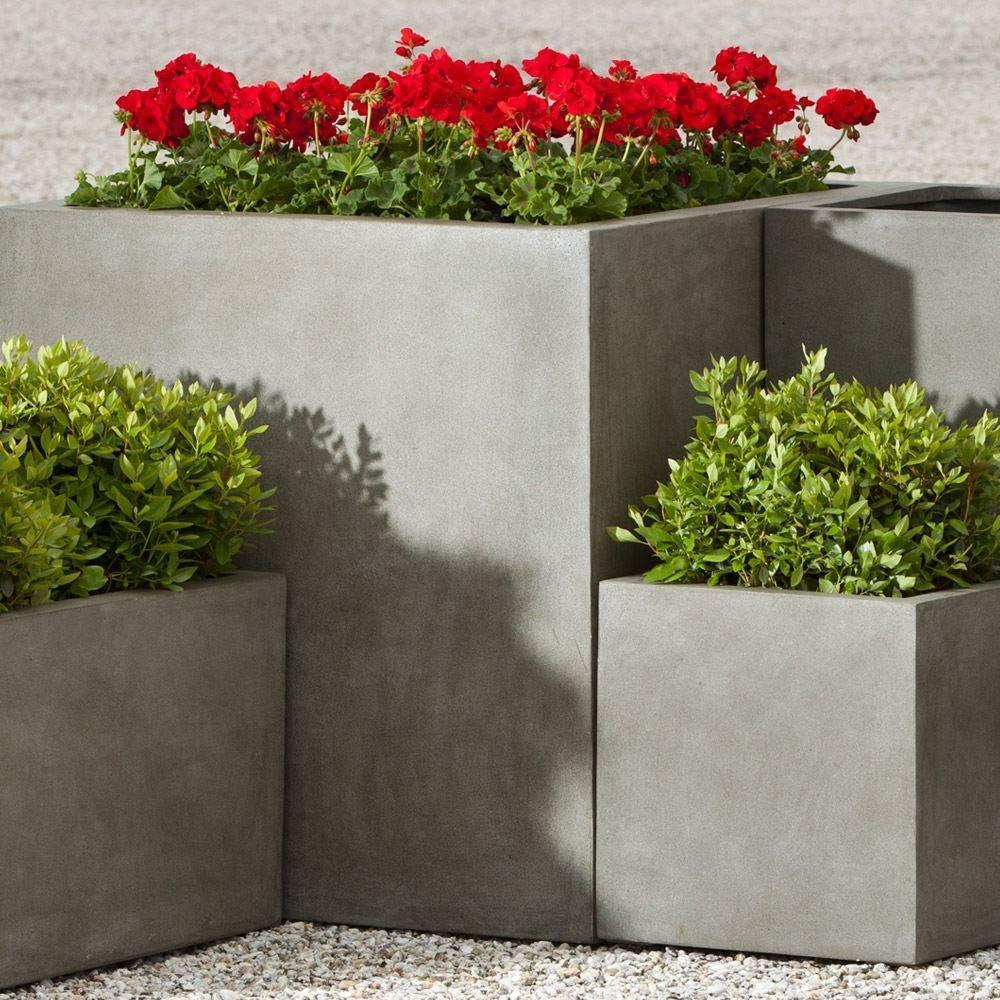 Campania International Modular Lite Planter 5 in Concrete Lite Kendall and Everett