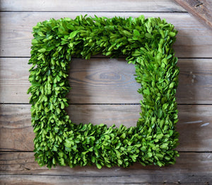 Mills Floral Preserved Boxwood Country Manor 16-inch Square Wreath