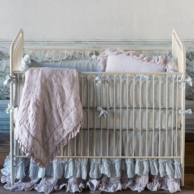 Bella Notte Linens Whisper Linen Crib Skirt The Garden Gates