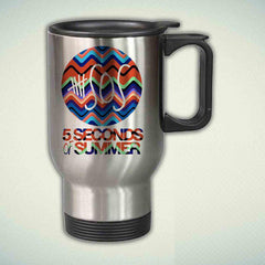 5SOS, 5 Seconds Of Summer On Chevron 14oz Stainless Steel Travel Mug