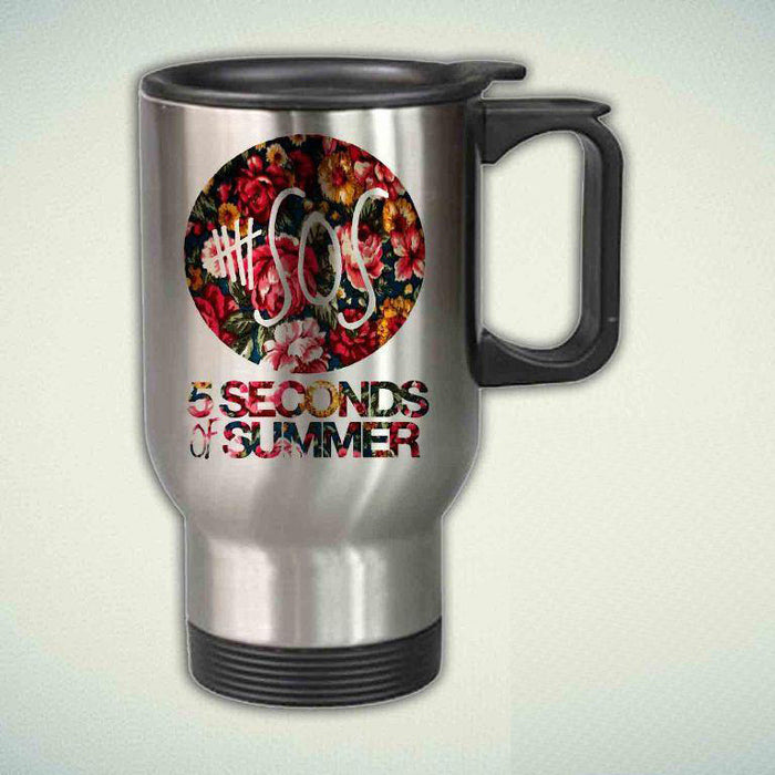 5SOS, 5 Seconds Of Summer On Classic Floral 14oz Stainless Steel Travel Mug