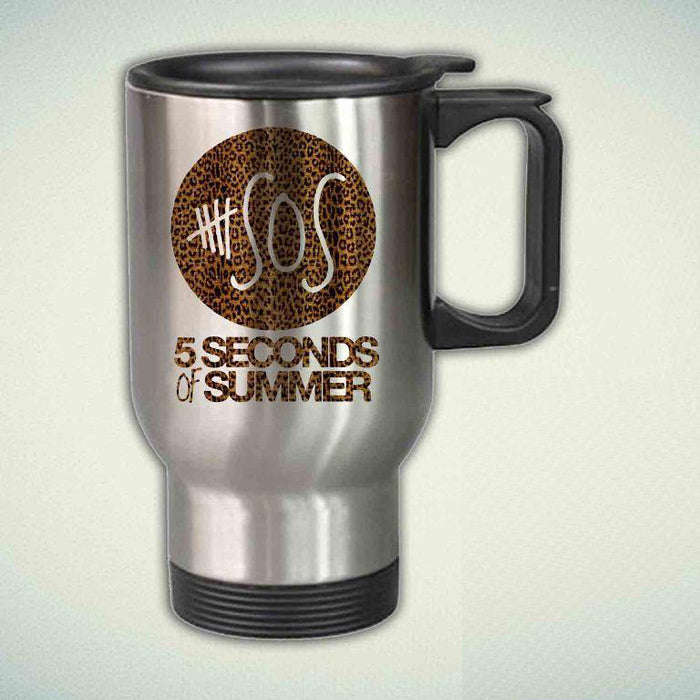 5SOS, 5 Seconds Of Summer On Leopard 14oz Stainless Steel Travel Mug